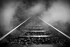 railway (4 ALL) Tags: bjärterot peter photoshop manipulated art fog railway track stone black white bw project