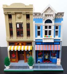 Lego Surf & Ski Shop/Travel Agency Comparison (elizabeth nevermind) Tags: lego modular store shop travel creator town city surf ski victorian gothic building