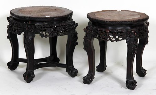 Ornate Carved Oriental Stools ($212.80)