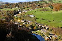 Autumn Colas On Horsfall Viaduct. (Neil Harvey 156) Tags: railway 60021 horsfallviaduct todmorden caldervalley prestondockstanks prestontanks bitumentanks 6e32 class60 colasrail colas tug rochdalecanal
