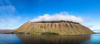 cloudy Mount Kirkjubólsfjall