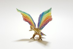 Ho-Oh: the Rainbow Pokemon (Joe Adia) (joeygami) Tags: origami pokemon hooh phoenix bird firebird rainbow wings gold legendary sculpture design paper art craft photo photography illustration drawing painting shining shiny shine colors lgbt pride