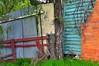 shambolic fences (holly hop) Tags: bealiba bealibard centralvictoria victoria australia abandoned empty derelict decay ruraldecay ruins broken fence fencefridays garden gardenfence shambles disarray disorder disorganized muddled confused chaotic corrugated chimney tree wall wow