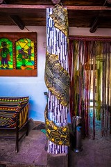 A very large snake skin at a hostal in Cusco.