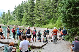 Hikers and Tourists watching the bear