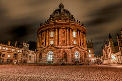 Oxford Nights - The Radcliffe Camera (DarrenCowley) Tags: oxford night radcliffecamera bodleianlibrary longexposure canon5d mkiv cobbled architecture history university cloudformations sky bicycles dome