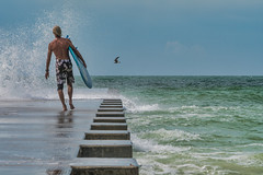 This Spot at the Beach (justenoughfocus) Tags: bradentonbeach gulfofmexico sonyalpha water beach bird florida gulfcoast manateecounty ocean people pier seascape surfer unitedstates waves us