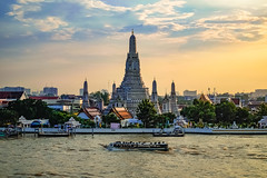 arun temple (Flutechill) Tags: bangkok thailand asia wat famousplace chaophrayariver architecture nauticalvessel river cultures sunset travel buddhism cityscape watarun pagoda thaiculture southeastasia tourism urbanskyline traveldestinations