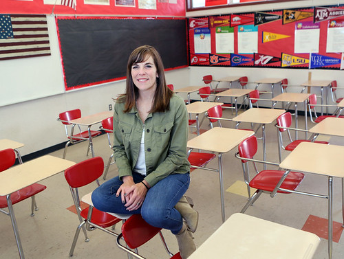 Elizabeth Bricmont Jarrett in her classroom at Westmont High School