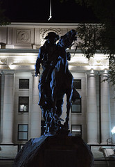 Rough Rider at Night (Sotosoroto) Tags: prescott arizona courthouseplaza evening courthouse statue night