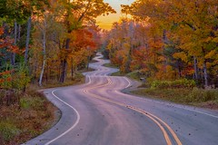 The End of the Road (Doug Wallick) Tags: door county wisconsin winding twisted road curves color sunrise morning october list colorful long exposure bucket 2017 northport autumn fall trip