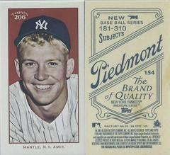 2009 Topps 206 / Mini Piedmont Short Print Variations - MICKEY MANTLE #154b (Outfield) (Baseball Hall of Fame 1974) (New York Yankees) (Treasures from the Past) Tags: 2009topps206 2009topps206mini baseballcard minibaseballcard topps parallelcard miniparallelcard mini cycle piedmont oldmill polarbear carolinabrights goldchromepiedmont goldchrome minipiedmont shortprint t206 hof halloffame baseballhalloffame mickeymantle newyorkyankees nyyankees yankees outfield