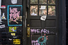 Love Yourself, always! (Beth Reynolds) Tags: grafitti nyc newyork art street tag doorway paint stickers posters bill love advice reflection pink door