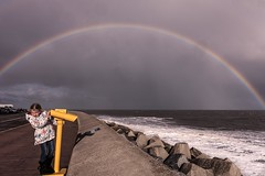 Somewhere .......... (supertrev22) Tags: scarborough seafront seawall rainbow telescope binoculars canon canoneos5dsr rain seaspray ef2470mmf28liiusm
