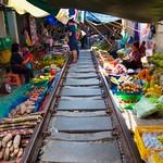Mae Klong railway market in Samut Songkhram, Thailand thumbnail