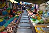 Mae Klong railway market in Samut Songkhram, Thailand (UweBKK (α 77 on )) Tags: mae klong railway station market track food vendors tourist attraction fruits goods wares samut songkhram thailand southeast asia sony alpha 77 slt dslr