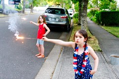 Fourth of July 2017 (pete4ducks) Tags: on1pics mady madelyn evie evangeline summer 2017 sonyalpha oregon beaverton red white blue holiday usa america americana girls children family sisters fireworks sparklers trees 500views