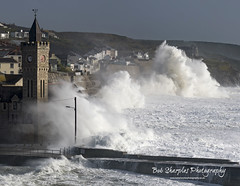 Tropical Storm Ophelia (Ex Hurricane) rolls into and batters the Cornish Coast (Bobbster007) Tags: bobsharplesphotography ophelia hurricane storm tropical stormforce gales highseas nature weather cornwall coast porthleven stormwatchers bickfordsmithinstitute clock tower