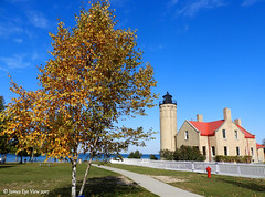 Old Mackinac Point Light (JamesEyeViewPhotography) Tags: old mackinac point lighthouse michigan lake huron greatlakes northernmichigan landscape fall colors water fence trees sky autumn clouds jameseyeviewphotography