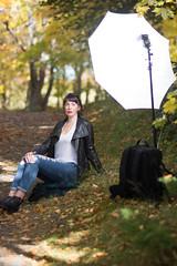 Nicole - Fall Photoshoot (Behind the Scenes) (bonavistask8er) Tags: nikon d7100 85mm model portrait bts behind scenes strobist sb910 umbrella fall outdoors