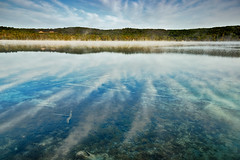 Inland Lake Elements (matthewkaz) Tags: limelake lake water sky clouds reflection reflections fog weather trees weeds cedar maplecity leelanau michigan puremichigan summer 2017