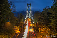Bridge To Vancouver (Taylor J Bate Photography (ThatTennisBirder94)) Tags: photography photo photos lighttrails trees road vancouver canada cityscape city landscape landscapes longexposure sky cloudy light twilight hour blue red green british columbia holiday 2016 travel travelling thattennisbirder94 me