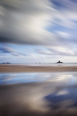 Wet Sand Between My Toes. (Andy Bracey -) Tags: bracey andybracey coast coastal beach sand water sea landscape seascape tower roccotower lacorbiere lowtide reflections bigstopper longexposure leefilters jersey saintouen stouen channelislands westcoast motion motionblur clouds streakyskies bigskies blueandwhite holidays reflected reflection wetsand wetsandbetweenmytoes openyoursenses connection feelconnected