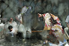 Perform (Bamboo Barnes - Artist.Com) Tags: japan festival dancer ritual historical ceremony oriental asia street audience boy photo painting digitalart photomanipulation light shadow grey white black red blue yellow bamboobarnes