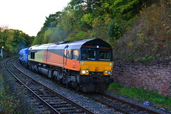 """66846 tnt 66848 Worcester Tunnel Jn {  { 1314 Gloucester Horton Road to Worcester Shrub Hill } 121017 S Widdowson (2) (50008""""thunderer"""") Tags: colas 66 668 66848 66846 worcester tunnel jn junction rhtt rail head treatment water cannon sandlite"""