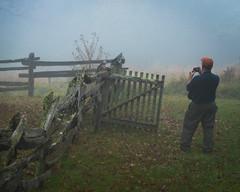 Photo Session (EXPLORE!) (riqwammy) Tags: fence fog gate person grass nikon d750