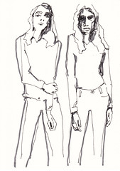 Denim Girls [20171013] (rodneyvdb) Tags: abstracted art blackandwhite bw contemporary drawing expression expressionism fashion femme figure figurative illustration ink inkpen model muse paper pose sketch stance vogue woman
