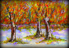 FROSTY FALL MORNING SKETCH (Louise001) Tags: frostyfallmorningsketch trees fall autumn mixedmedia inks watercolor neocolors art paintings