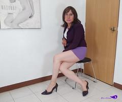 Light purple miniskirt, white blouse, purple blazer, purple high heels. (Elsa Adriana) Tags: elsaadriana elsa sexylegs mexican tgirl travesti transvestite tbabe tv transgender transgenero mature miniskirt highheels