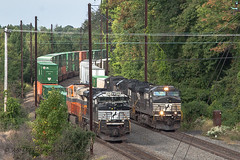 Busy Morning @ Morrisville, PA (Darryl Rule's Photography) Tags: 2017 20q 24k buckscounty cpjohn catenary clouds cloudy dash9 emd eastbound fall freight freightcar freighttrain freighttrains ge heritage heritageunit heritageunits intermodal interstate mv5 morrisville morrisvilleline morrisvilleyard ns norfolksouthern oxfordvalley pa pc prr penncentral pennsy pennsylvania railroad railroads sd70m2 september sun sunny train trains trentoncutoff
