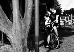 pairings (gerhardkörsgen) Tags: atmosphere artphotography alltag blackwhite candid city cologne decisivemoment deux everyday feeling couple pärchen gerhardkoersgen germany love liebe körsgen köln life look menschen monochrome outdoor hug people perspective photographed persons passengers streetphotography scene schwarzweiss tram travel say goodbye abschied urban view walkby woman man zufall happenstance true composition unposed bicycle tree umarmung