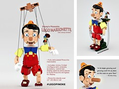 LEGO Pinoke 3x a charm (buggyirk) Tags: disney disneys walt pinocchio jiminy cricket lego marionette brickbuilt brick figure maxifigure bigfigure puppet ideas classic retro toy design art fanart buggyirk jiminyc 1940 moc afol project support vote