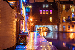 Gas Street Basin (atomikkingdom) Tags: bright birmingham canal narrowboat ideas blue uk cloud water moored sky light boats apartment pavement waterways