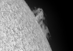 Prominence on October 7 2017 with Quark-Lunt DS D153_F8 4xTV PM_PDT_09h49m17s-0427_L_g4_ap318 (Photon_chaser) Tags: sun prominences protuberance protuberances prominence alpha achromat asi andover astrophotos anover25mmblackingfiltermountedinthenosepieceoftelevue4xpowermatetelecentric quark zwo zwoasi174mmcamera etalon 3d 3dprintedtubeassembly 3dprintedtube erf lunt ls50f baader baader110mmderf