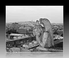 Notre-Dame de Paris: B&W Gargoyle (dominotic) Tags: paris france notredame roof parisskyline stonecarving architecture bw catholiccathedral blackandwhite notredamedeparis ourladyofparis church stonegrotesque history gargoyle sculpture rooftop