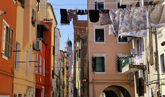 Laundry today or naked tomorrow! (B℮n) Tags: chioggia veneto lagoon island cathedrale fishmarket harbor fishing port pace life italië italia italy ronams clodia seafood panorama panoramico boat ships tour locals canals boats unspoiled bridgde town colors tourism vacation holiday summer architecture historic authentic canal vena laundry washing chiesadisanmartino saint martino line clothing alley church tower calledoro urban street 50faves topf50 100faves topf100