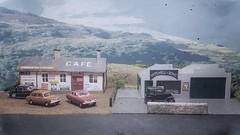 Horton Pass Cafe Late 1960s. (ManOfYorkshire) Tags: resin plastic diecast model models cars oxforddiecast 176 scale oogauge vauxhallvia rover hillmanimp austin7 mitchellsons mitchells garage cafe hortonpass diorama modified built