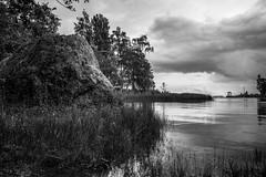 big stone (m.pertti) Tags: blackandwhite monochrome finland water flowersplants kotka landscape nature sea
