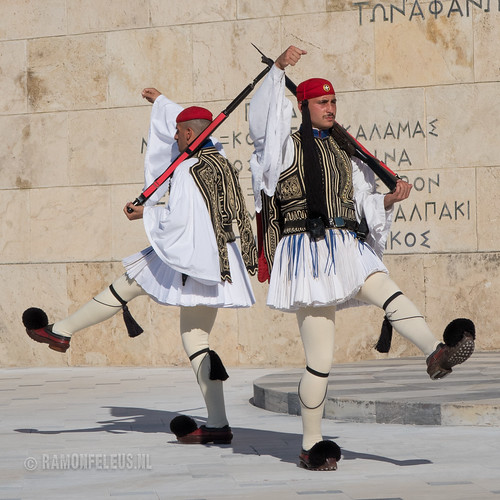 Evzones guards at Syntagma Square, Athens