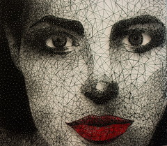 string art women portre (Kirlikedi) Tags: art women portre string rope black red nail face beauty