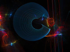 What Happened To Pacman? (Alfred Grupstra) Tags: abstract backgrounds futuristic glowing science illustration space shape lightnaturalphenomenon technology pattern creativity multicolored night blue computergraphic curve dark fractal blackcolor