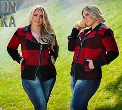 Куртка женская вязанная большой размер с кожаной окантвкой черно-красная клетка (arrkareeta) Tags: одежда куртка jacket 21 clothing woman 2016 2012