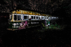 A Ghost In The Night (Pixel Fusion Photography) Tags: abandon abandoned decay decaying graffiti notalone urbex urbanex urbanexploring urbanexploration alone canon canonphotography trolley longexposure