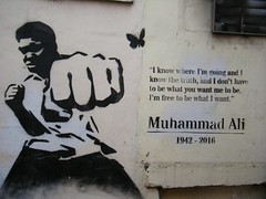 🐝Manchester street art = Muhammad Ali ( Cassius Clay)🐝 (rossendale2016) Tags: quotation quote legendary legend fighter gentleman true wall painted white black fit super best reyner street chinatown swabs adrenaline cut punch laces boots protector shorts taped leather fist bee sting butterfly like float cooper henry liston sonny jungle rumble crowd counted ten stopped technical out knocked beat gloves skilful accepted praises renown sportsman athletic athlete iconic champion world boxer clay casuistry ali muhhamad