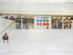 alone in the city (albyn.davis) Tags: subway people stairs nyc newyorkcity architecture calatrava wtc white colors windows street city urban alone travel transportation