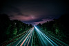 Leading to nowhere (Griffs.Photography) Tags: a1 motorway light trails milkyway lighttrails purple sky purplesky road car bus digger tractor trianglerule lines leadinglines triangles longexposure exposure iso iso100 20 20seconds f35 16mm exif sony a6000 sonya6000 sonyalpha sonyemount clouds red blue green white october autumn